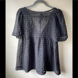 Urban outfitters oversized black sheer quilted babydoll short ruffle sleeve top
